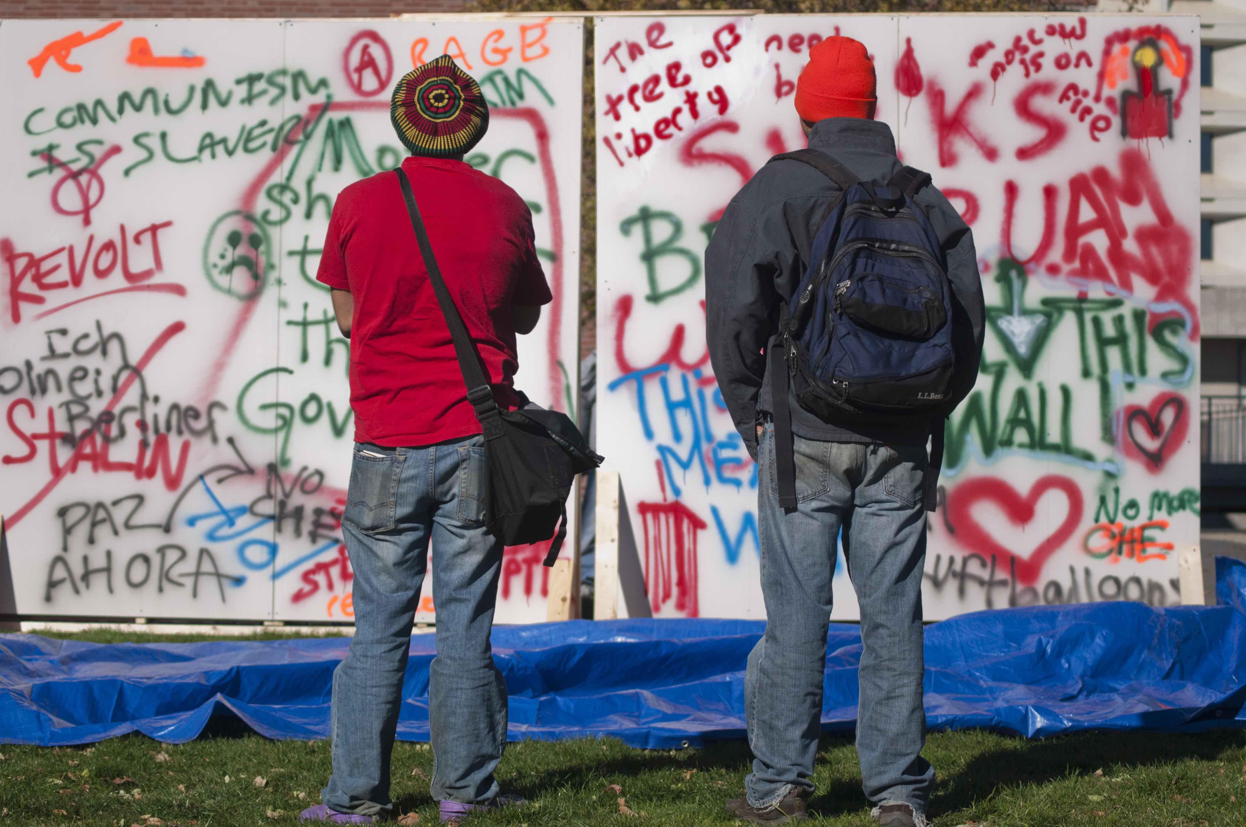 UMass Amherst Mock Berlin Wall