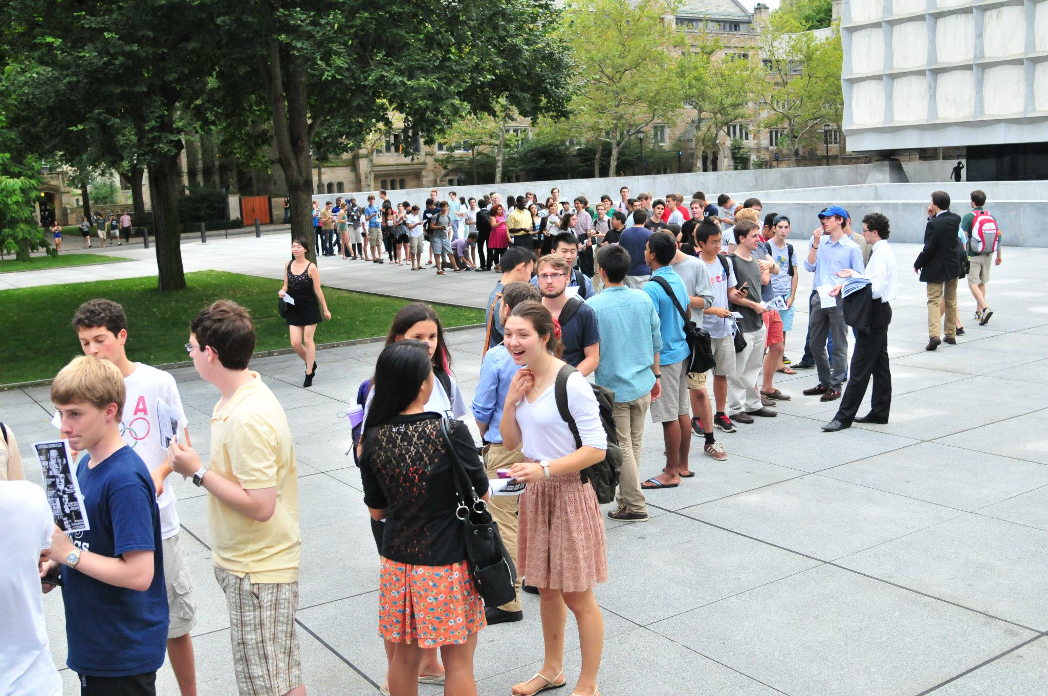 Students Wait to Enter Lecture Hall