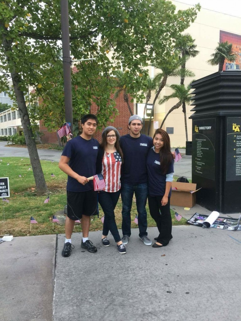 Members of CSULA YAF create their 9/11: Never Forget memorial.