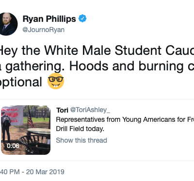 'Hoods And Burning Crosses Optional': Newspaper Editor And Journalism Ethics Instructor Attacks YAFers For Activism