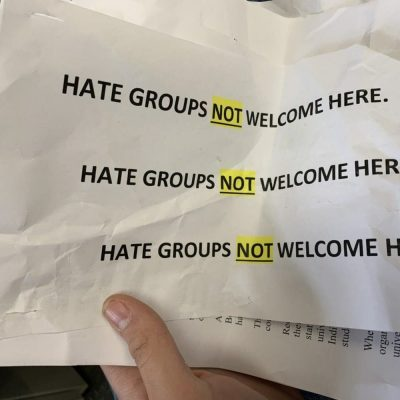 Childish Leftist Professor Hangs Posters Claiming YAF Chapter Is a Hate Group