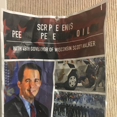 Leftists Deface and Remove Scott Walker Posters Ahead of Stanford Lecture