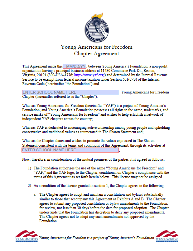 YAF Chapter Agreement
