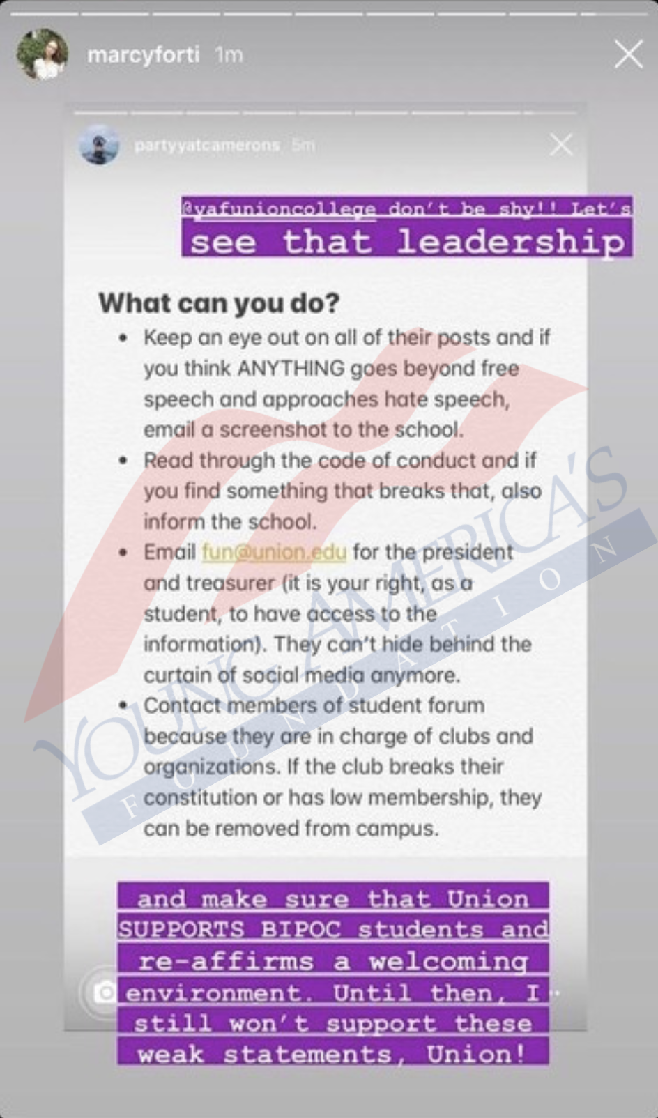 Doxxing College Moves To Release Personal Info Of Yaf Chapter Leaders After Outrage Over Pro Police Instagram Post