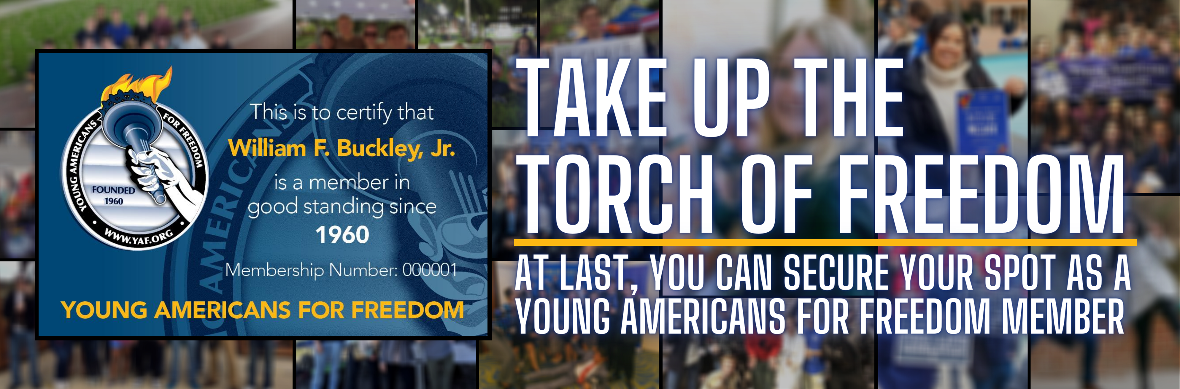 <h1><b>Become a YAF member.  SIGN UP TODAY</b></h1>