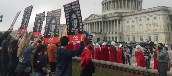 <h1><b>YAF Advocating for a Woman | Handmaids Protesting the Confirmation of a Woman to the Highest Court of the Land</b></h1>