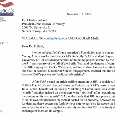 'Actively Stifling The Free Exchange Of Ideas': YAF Puts John Brown University On Notice