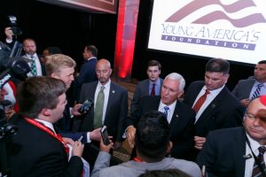 Mike Pence talking to students