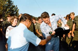 Reagan hosts a barbecue for Seabees at the Ranch